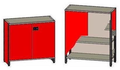 erka metaltec modulsystem mit schrank und regal. Black Bedroom Furniture Sets. Home Design Ideas